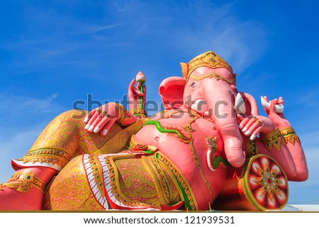 Pink ganesha statue in relaxing action, Thailand.