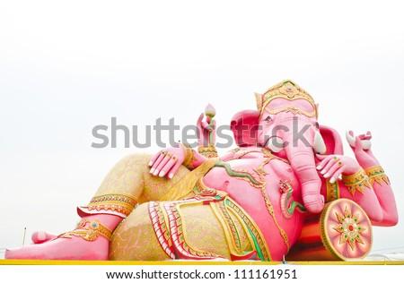Pink ganesha statue wat Samarn, Chachoengsao, Thailand - stock photo