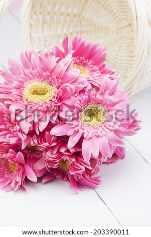 pink gerbera on white wood with basket - stock photo