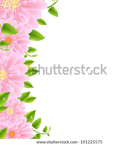 Pink Gerbers Border With Leaves - stock photo