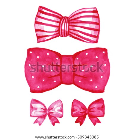 Pink gift bow. Watercolor drawing. Illustration on white background.