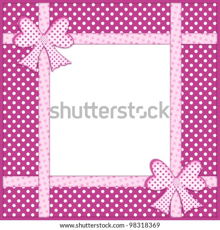 Pink gift bows and ribbons over purple background with white polka dots and framed copy space for your text or photo