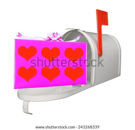 Pink Gift box and open mailbox for valentine wedding etc on white.  - stock photo
