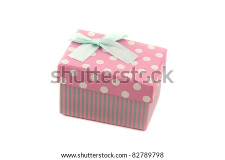 pink gift box isolated in white background - stock photo