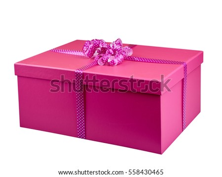 Pink gift box isolated perspective view