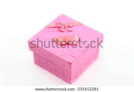 pink gift box on white background.