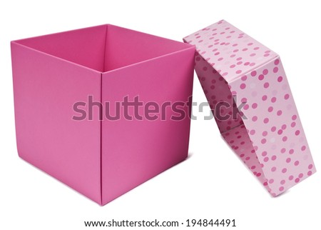 Pink gift box open, isolated on white. Clipping path included. - stock photo