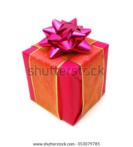 Pink gift box with ribbon bow. Holiday present. Object isolated on white background.  - stock photo