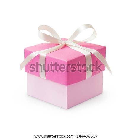 Pink gift box with ribbon bow isolated on white background