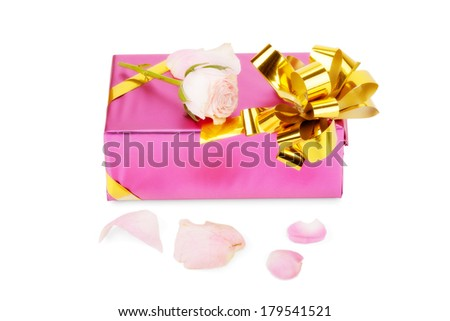 Pink gift box with rose flower isolated on white background