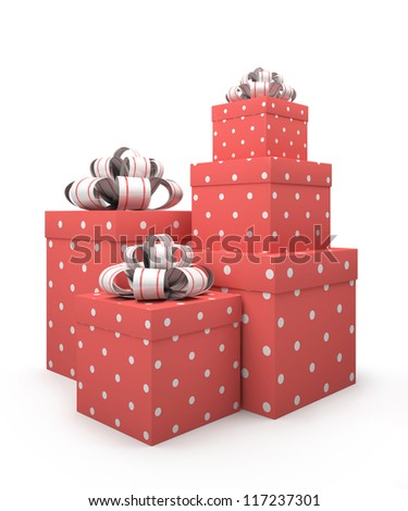 Pink gift boxes isolated on white backgroung illustration