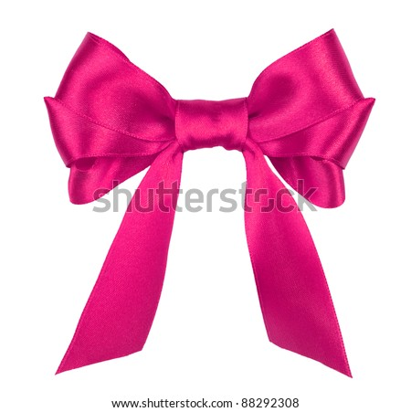 pink gift satin ribbon bow on white background - stock photo
