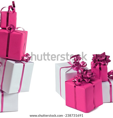 Pink gifts isolated on white background