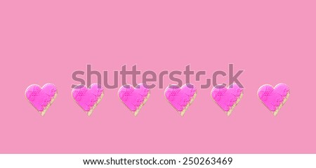 Pink  Gingerbread hearts Isolated on pink background - stock photo