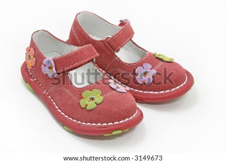pink girl shoes - stock photo