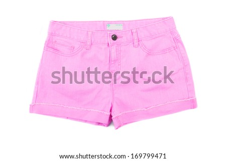 Pink girls jeans shorts. Front. Isolated on a white background.