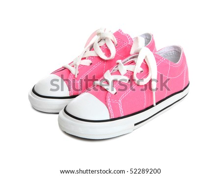 Pink Girls Sneakers (Tennis Shoes) over a white background - stock photo