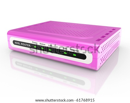 pink glamor ADSL router on a white background