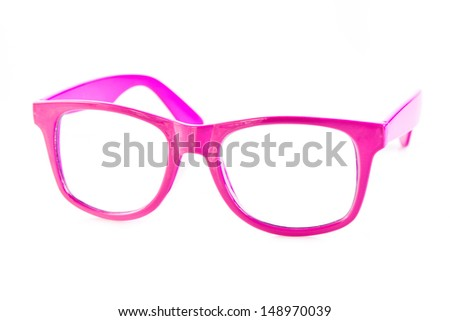 Pink  glasses isolated on white