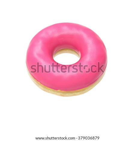 Pink-glazed donut isolated on white background