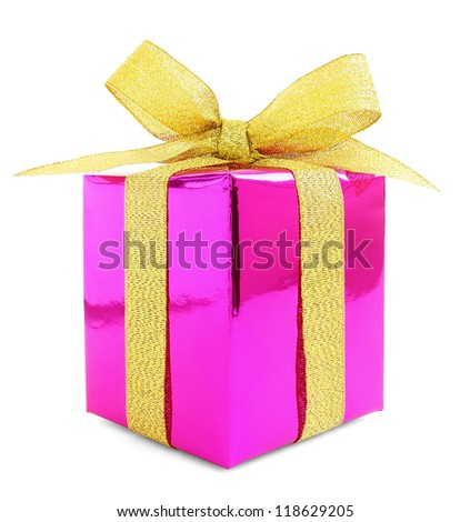 Pink glossy gift wrapped present with golden bow, isolated on white - stock photo