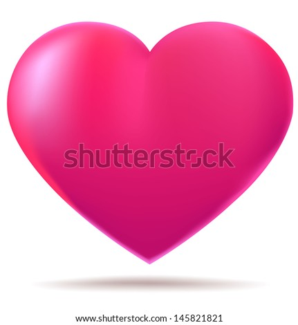 Pink glossy heart isolated on white background - stock photo