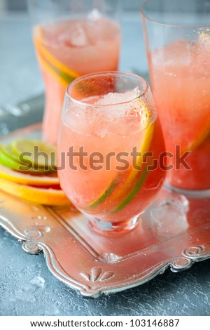 Pink grapefruit drinks  with crushed ice