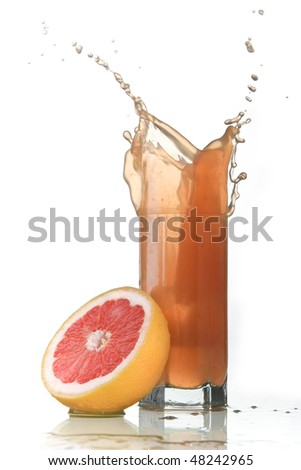 pink grapefruit splash - stock photo