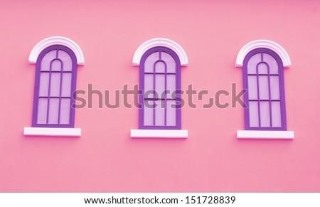 pink greek style window. - stock photo