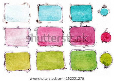 Pink, green, turquoise frames, doodle - stock photo