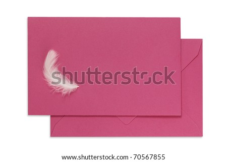 Pink greeting car with an envelope and little feather on white. Clipping path. - stock photo