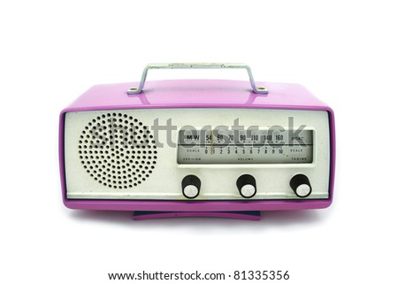 Pink grungy retro radio on  isolated white background - stock photo