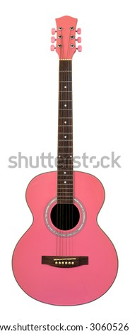 Pink Guitar on white background (with clipping path) - stock photo