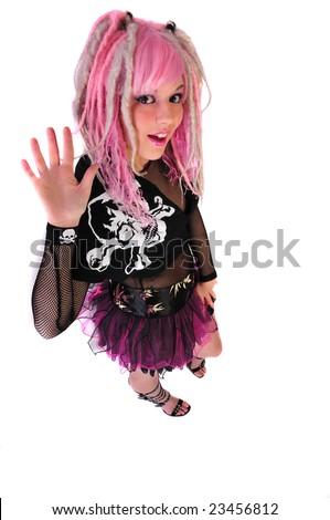 pink hair punk girl waves