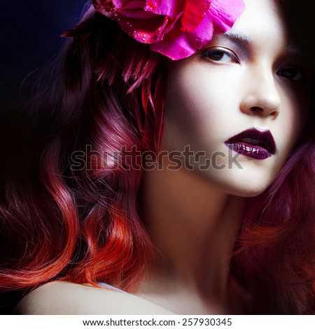 Pink hair. young beautiful woman, bright style - stock photo