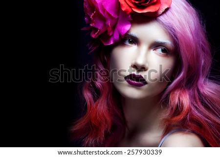 Pink hair. young beautiful woman, bright style, looking away