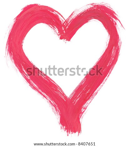 pink handpainted heart shape against pure white background, clearly visible traces of brush strokes, edges are very rough and frayed - stock photo
