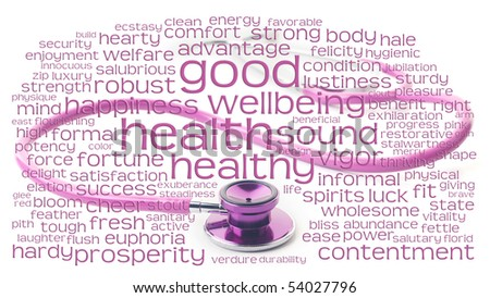 pink health healthy and wellbeing word or tag cloud over pink stethoscope - stock photo