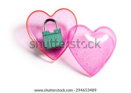 Pink heart and lock, love concept  - stock photo