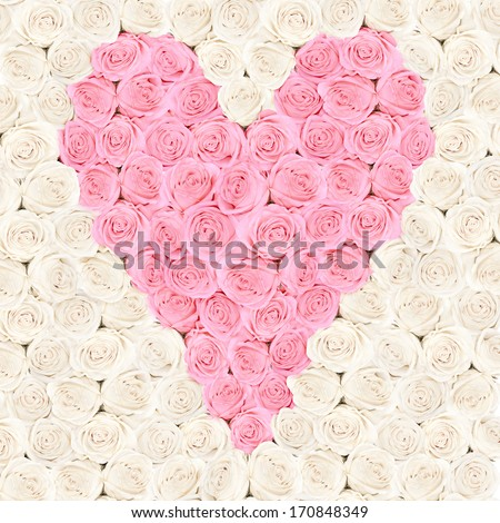 Pink heart consisting of roses with flower background - valentine card - stock photo