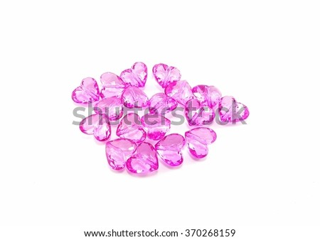 Pink heart crystal on white background, Use for valentine day