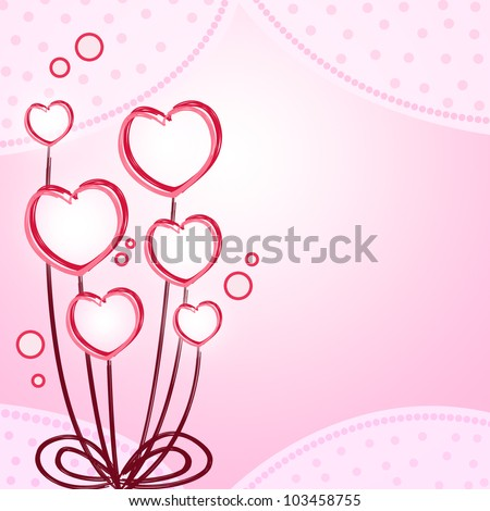 Pink heart flower abstract background
