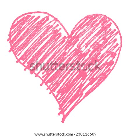 pink heart painted isolated - stock photo