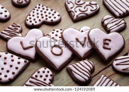 Pink heart shape cookies for Valentine�´s Day - stock photo