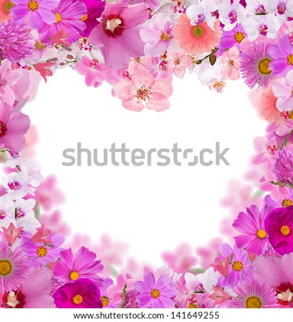 pink heart shape floral frame isolated on white background - stock photo