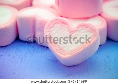 Pink heart shape of marshmallow with filter effect retro vintage style