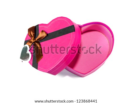 Pink Heart-shaped box in heart shape on white background