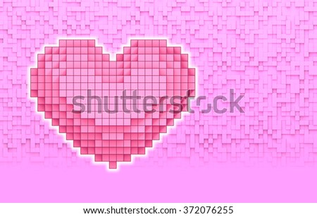 Pink Heart volumetric pixel with abstract background for copy space design, illustration Virtual 3D - stock photo