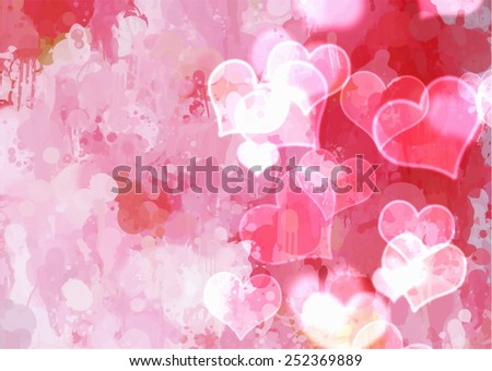 Pink hearts brush strokes background. Raster version - stock photo