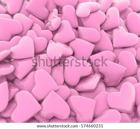 Pink hearts, 3d illustration